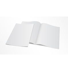 Blank opened magazine template with cover vector