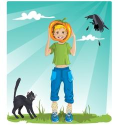 Boy with pumpkin vector