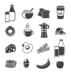 Breakfast flat silhouette icon set vector