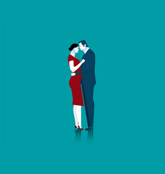 Businessman and woman couple standing embracing vector