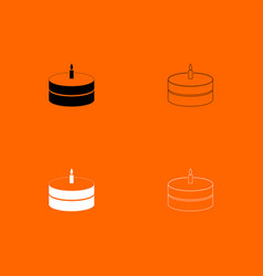 Cake with candle black and white set icon vector