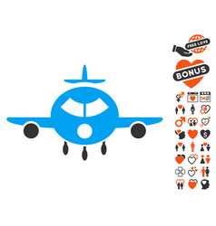 cargo aircraft icon with dating bonus vector image