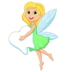 Cartoon a cute Tooth Fairy flying with Tooth vector image
