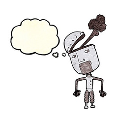 Cartoon funny robot with thought bubble vector