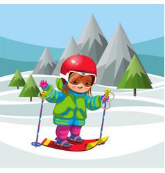 cartoon little boy skiing on snowy hills vector image