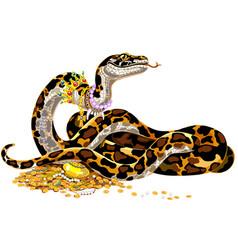 cartoon python guarding treasure vector image