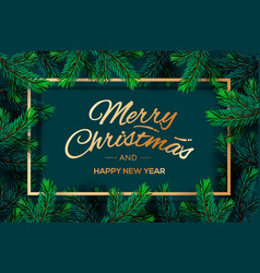 christmas tree branches template merry vector image