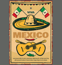 cinco de mayo mexican sketch retro poster vector image