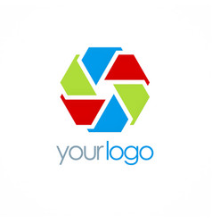 Circle shape color polygon logo vector