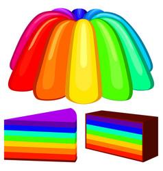 Colorful cartoon rainbow jelly pudding set vector
