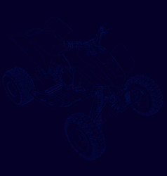 contour of the quad of blue lines on a dark vector image