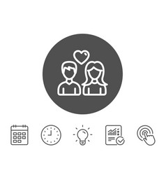 couple line icon users with heart sign vector image