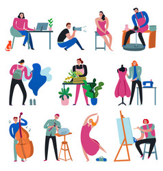 Creative workers set vector