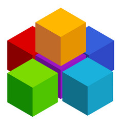 Cubes abstract 3d multicolor element on white vector