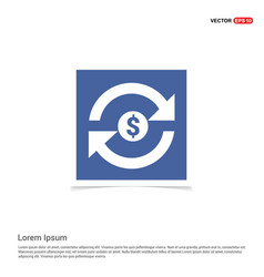 currency convert icon - blue photo frame vector image