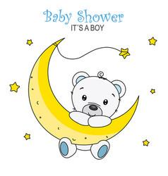 cute bear on the moon vector image
