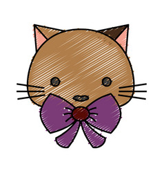 Cute cat icon vector