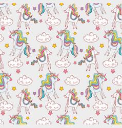 Cute unicorn with kawaii clouds and stars vector