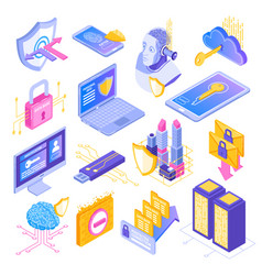 cyber security isometric set vector image