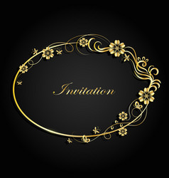 Decorative gold frame vector