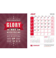 Desk calendar template for 2018 year july design vector