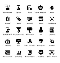 Digital marketing filled icons pack vector