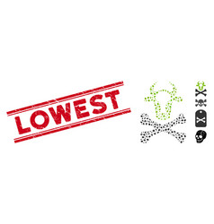 Distress lowest line seal and mosaic cow death vector