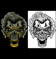 Evil skull with hair vector