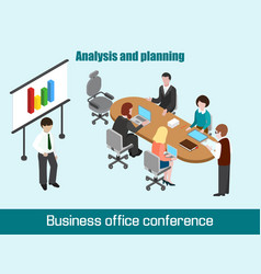 Flat 3d isometric business conference concept vector