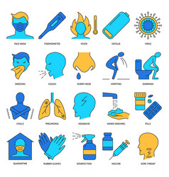 flu icon set in colored line style vector image