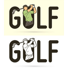 Font golf with golf player action cartoon sport vector
