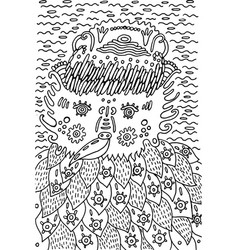 funny doodle fantastic bird - coloring book for vector image