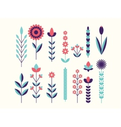 geometric cute flower icons set vector image