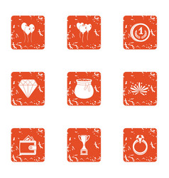 Gift to beloved icons set grunge style vector