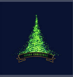 Glowing green christmas tree design background vector