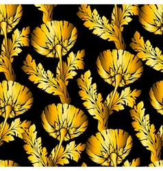 Gold garden flowers on black seamless hand-painted vector