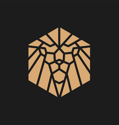 Gold lion hexagonal geometric logo icon vector
