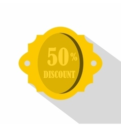 Golden sale label 50 percent off discount icon vector image