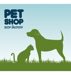 gree silhouette dog cat and grass pet shop icon vector image