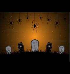 Halloween gravestone graveyard coffin spider web vector