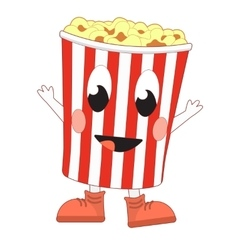 Happy popcorn bucket vector image