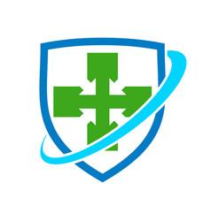healthy cross shield protection symbol design vector image