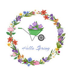 hello spring lettering and wreath banner bright vector image