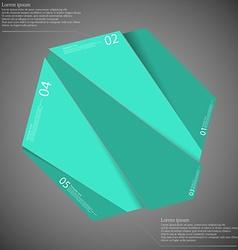 Hexagon motif randomly divided to five green parts vector