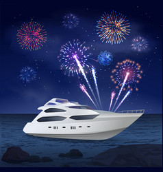 holiday cruise fireworks composition vector image