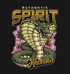 Japanese warrior spirit colorful vintage label vector