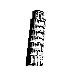 Leaning tower pisa italy black 8 bit vector