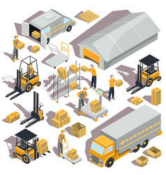 Logistic and delivery isometric icons vector