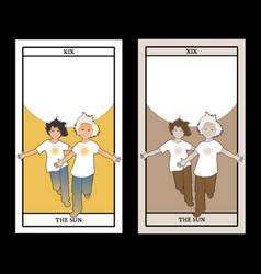 Major arcana tarot cards the sun two happy twin vector