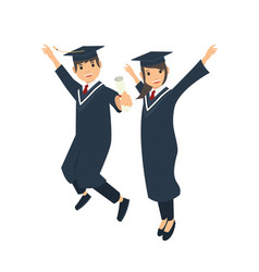 male and female student jumping after graduation vector image